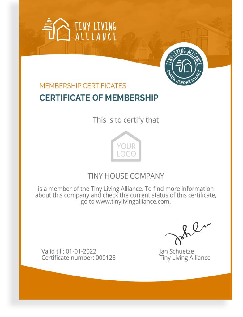 Tiny Living Alliance member certificate